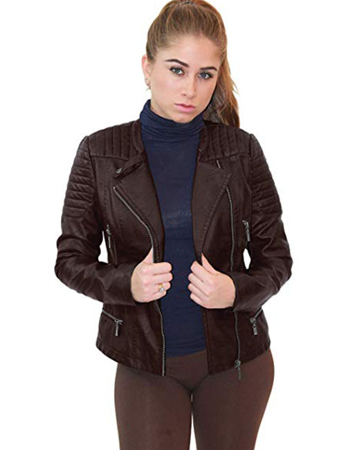 Olivia Miller Women's Faux Leather Moto Biker Jacket with Pockets