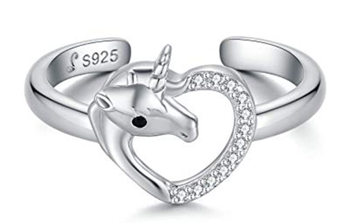 Presentski Heart Unicorn Open Ring
