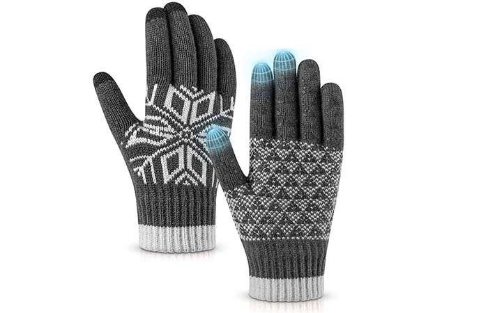 Pvendor Winter Gloves Warm Touch Screen Knit Gloves