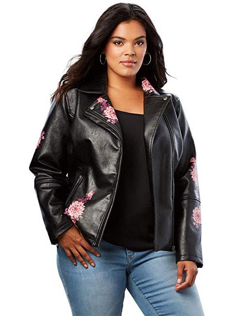 Roamans Women's Plus Size Floral Moto Jacket