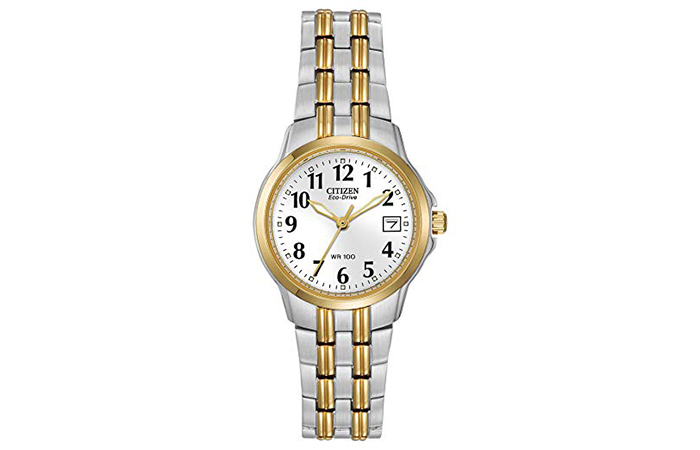 Silver And Gold Tone Eco-Drive Watch