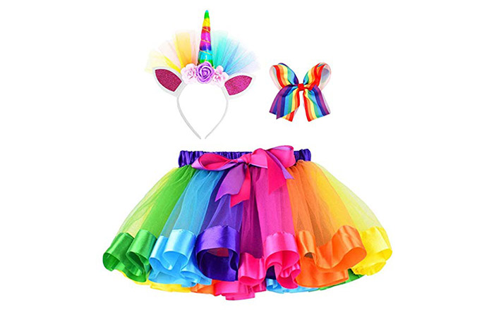 Simplicity Girls Unicorn Tutu Skirt With Headband And Hair Bow