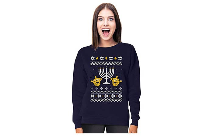 Tstars Funny Jewish Holidays Ugly Christmas Hanukkah Women Sweatshirt