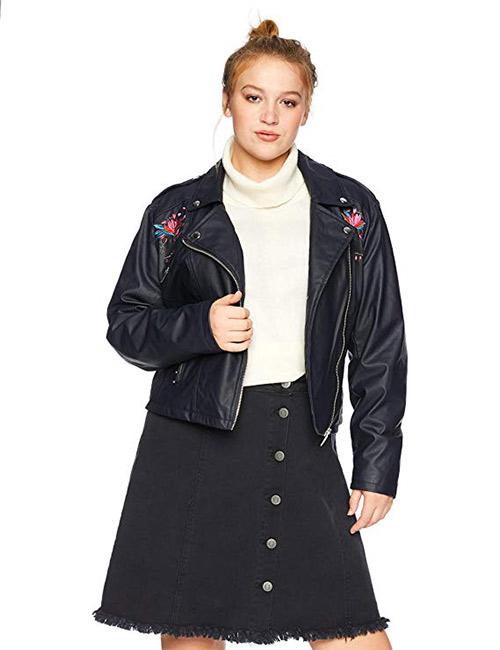 Yoki Women's Plus Size Faux Leather Embroidered Moto Jacket