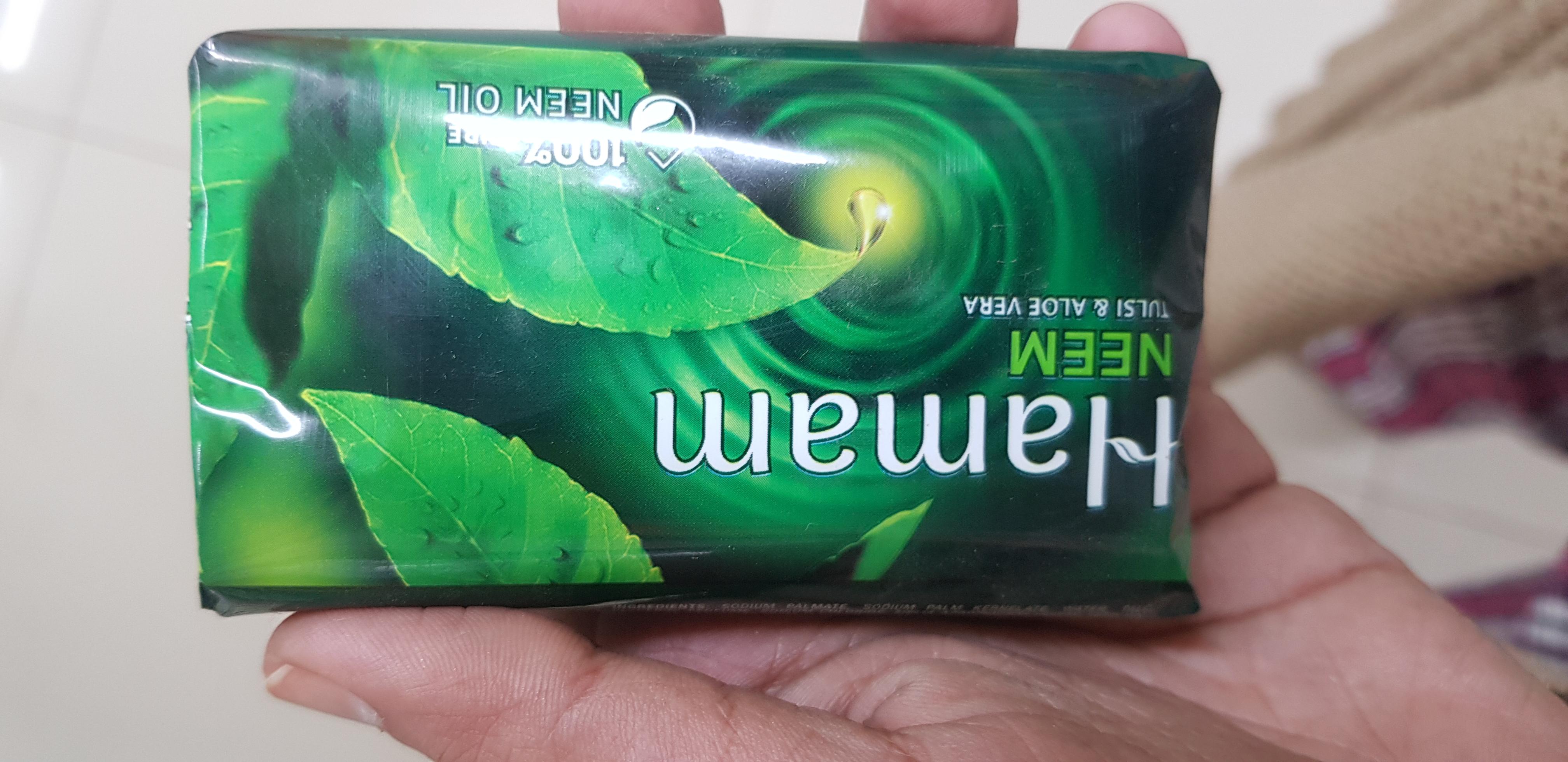 Hamam Neem Tulsi And Aloe Vera Soap Bar-Neem reduces acne-By avyuktha