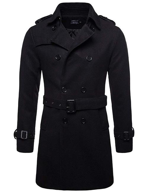 AOWOFS Mid-Long Wool Blend Trench Coat