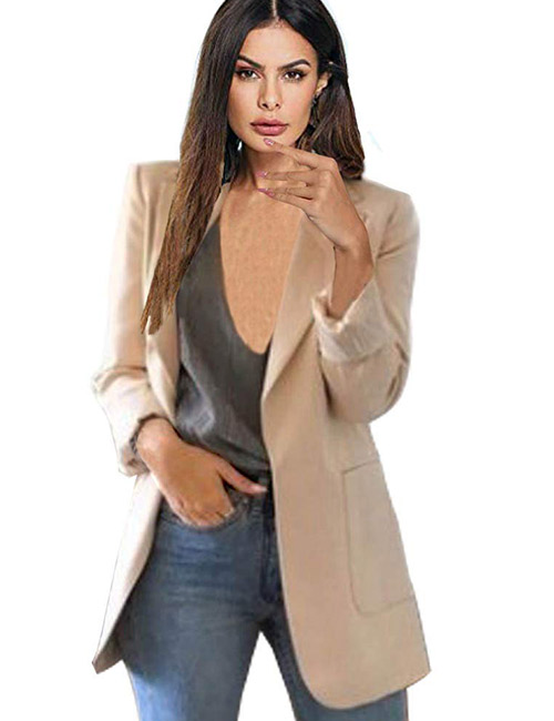 Abuyall Women Long Sleeve Open Front Blazer Plus Size