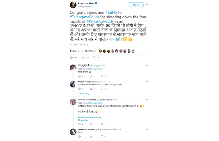 Anupam Kher congratulated the Telangana police by tweeting