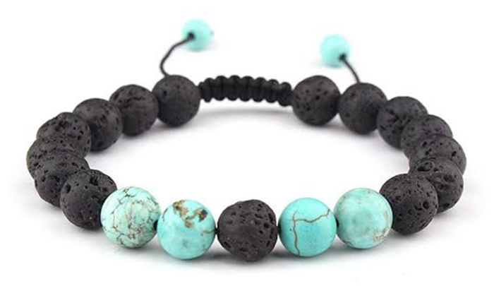 Celokiy Adjustable Lava Rock Stone Essential Oil Anxiety Diffuser Bracelet