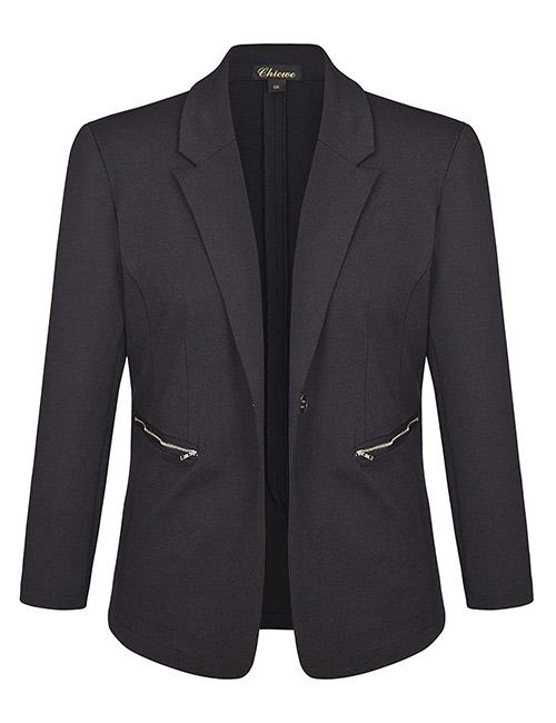 Chicwe Women's Plus Size Stretch BlazerSuit Jacket With Metal Zipper