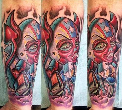 Colorful Evil Tattoo