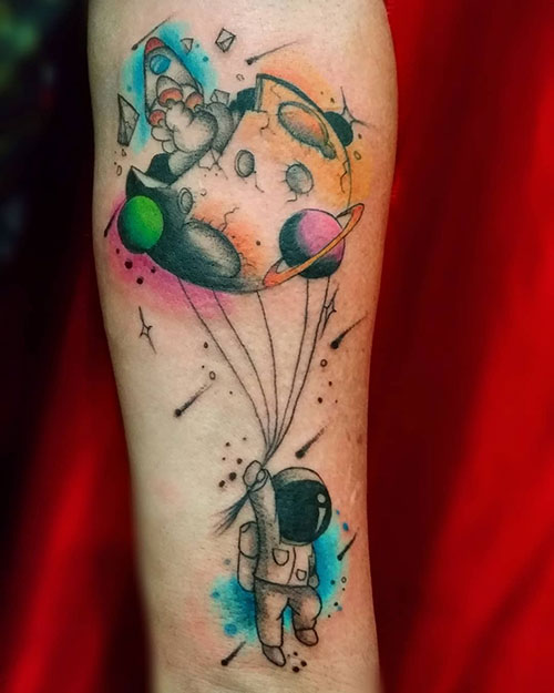 Colorful Space Tattoo
