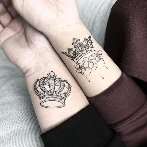 Customized King And Queen Crown Tattoos