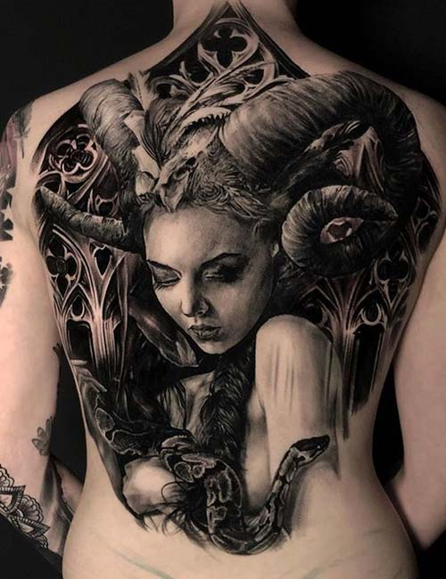 Demon Back Tattoo