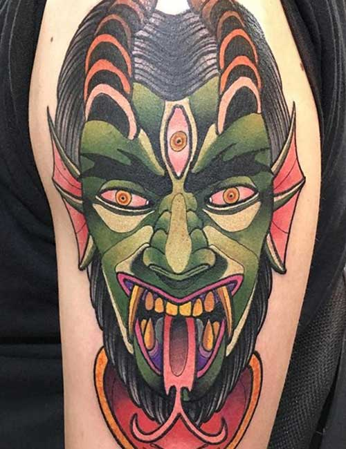Demon Bicep Tattoo