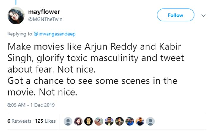 Director of Lootera, Vikramaditya Motwane called Sandeep Vanga out in a shady tweet