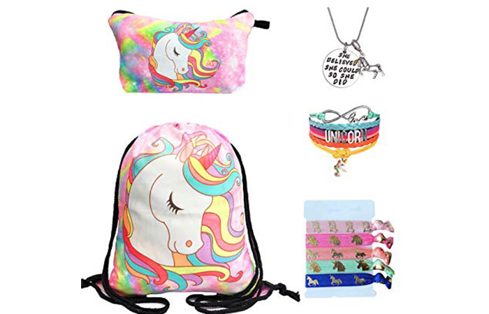 Doctor Unicorn Drawstring Backpack With Makeup Bag