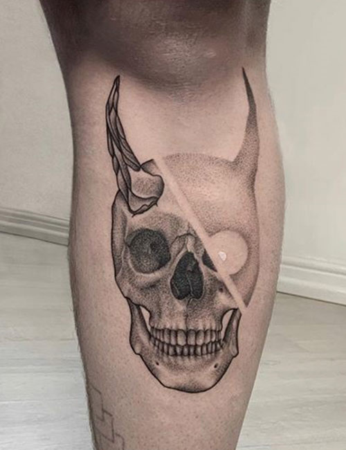 Dotted Demon Knee Tattoo