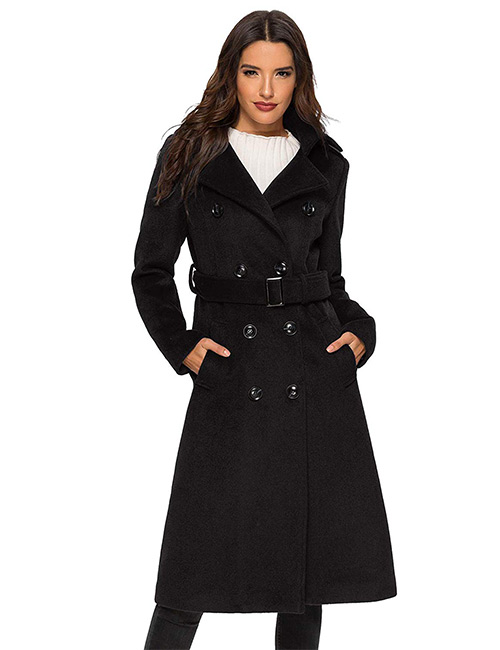 Escalier Wool Double-Breasted Trench Coat