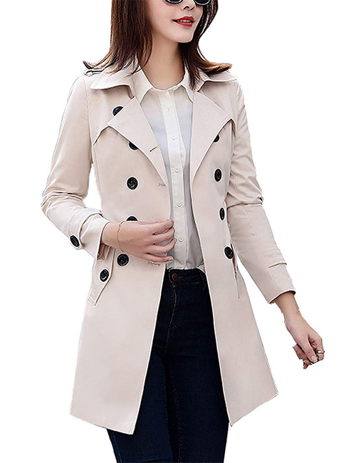 Farvalue Classic Belted Lapel Trench Coat