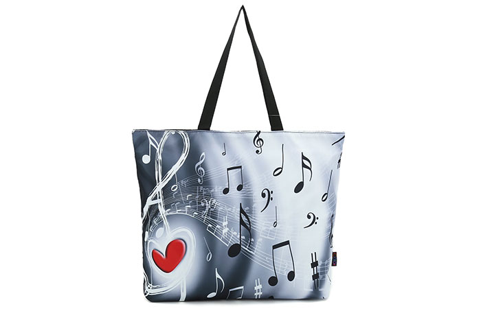 ICOLOR Music Notes Shopping Bag