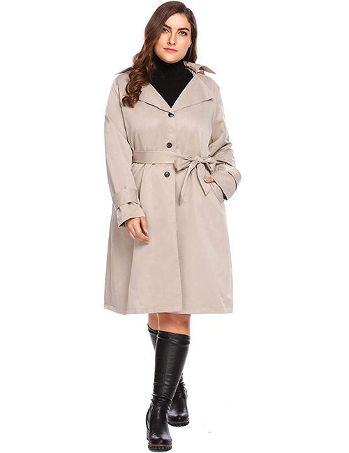 IN'VOLAND Plus-Size Trench Coat