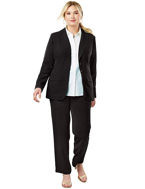 Jessica London Women's Plus Size Single-Breasted Pant Suit