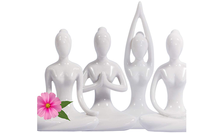 KiaoTime White Set of 4 Home Decorative Porcelain Ceramic Yoga Pose Yoga Figurines