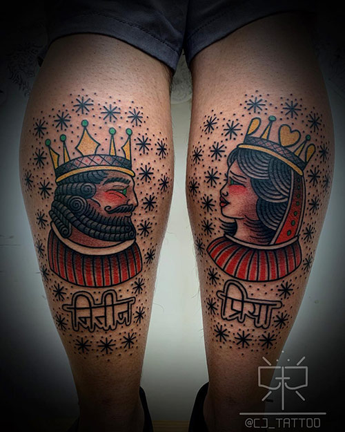 King And Queen Name Tattoos
