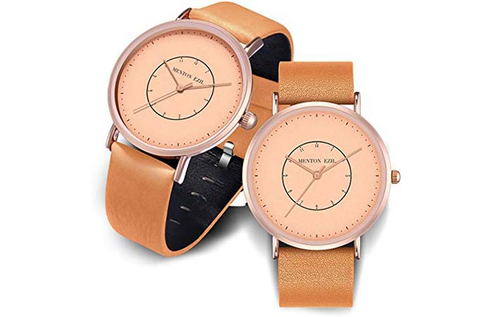 Konxido Leather Double Tone Watches