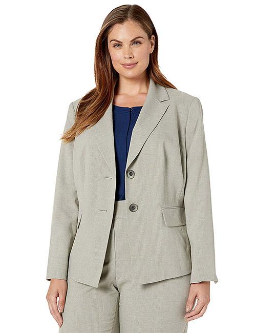 Le Suit Women's Plus Size Striped Cross Dye 2 Button Notch Collar Pant Suit