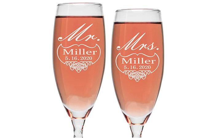 OTR-Custom Personalized Wedding Champagne Flutes