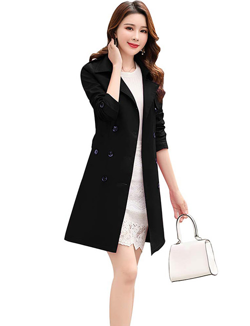 Osemy Slim Fit Lapel Mid-Length Trench Coat
