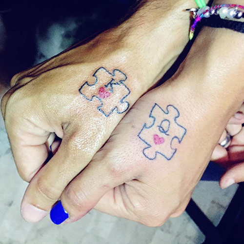 Puzzle-shaped King And Queen Tattoos