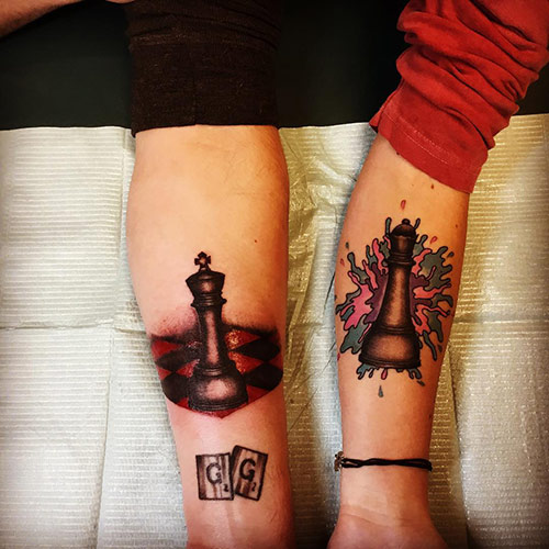 Red Ink Chess King And Queen Tattoos