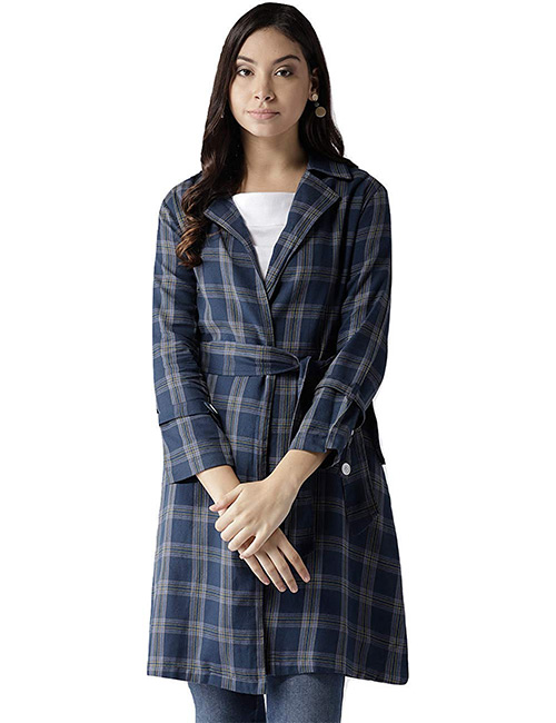 STYLE QUOTIENT by NOI Navy Blue Longline Trench Coat