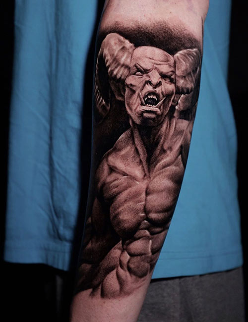 Screaming Realistic Demon Tattoo