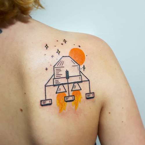 Simple Satellite Tattoo On The Shoulder