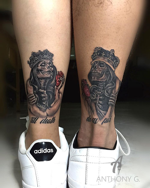 Skull King And Queen Tattoos