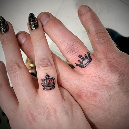 Tiny Crown Ring Finger Tattoos