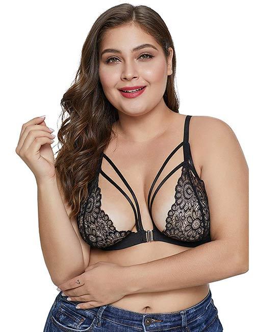 VictoryingDay Women's Plus Size Lace Strappy Bralette