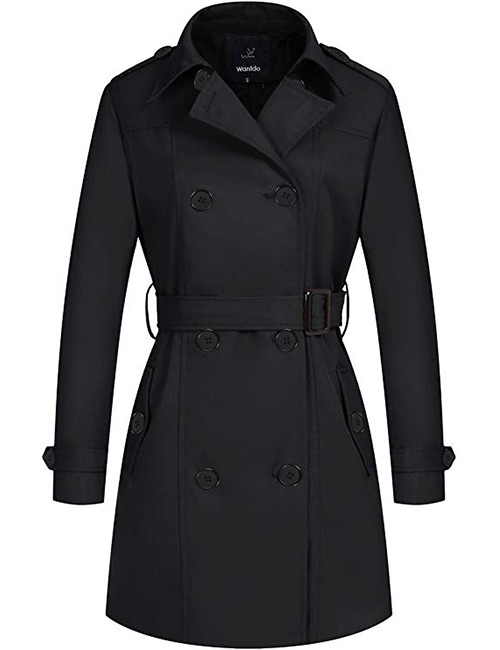 Wantdo Double-Breasted Black Trench Coat With Belt