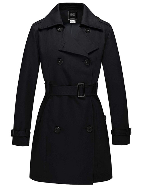 ZSHOW Thigh-Length Front Wrap Belted Trench Coat