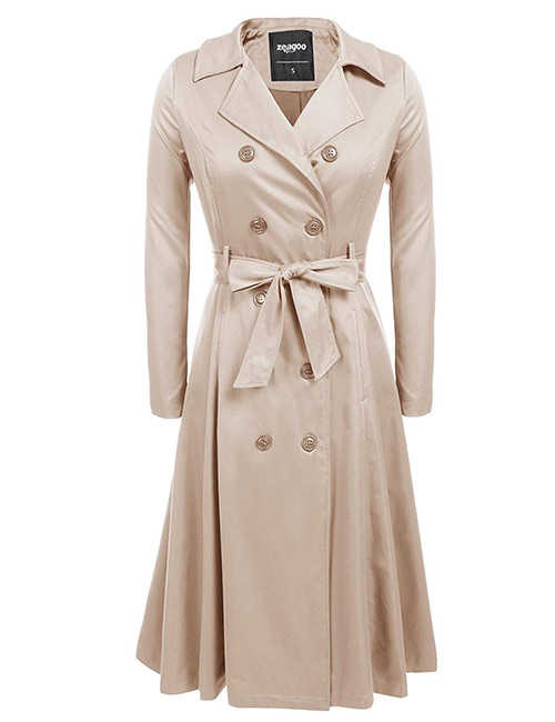 Zeagoo Double-Breasted Long Trench Coat
