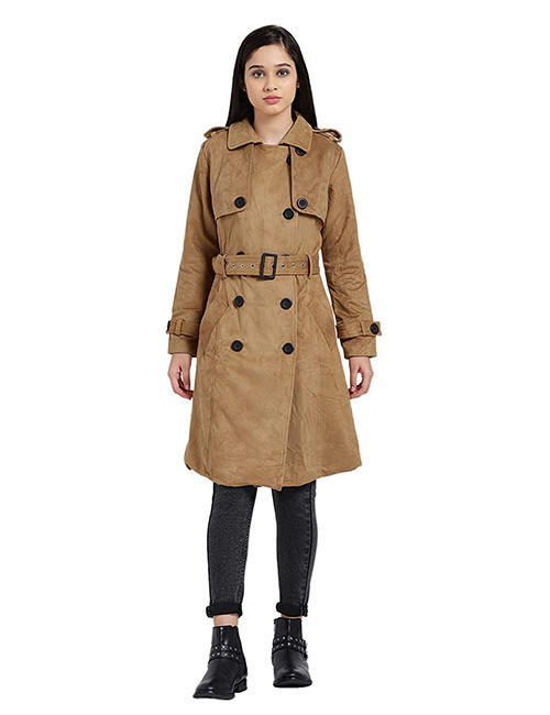 Zink London Brown Solid Suede Trench Coat