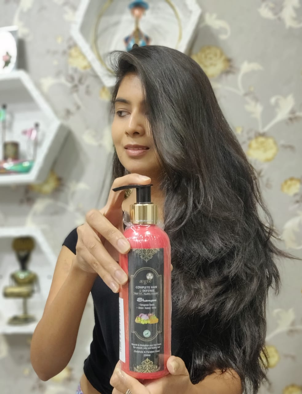 Aegte Complete Hair Defense Shampoo Enriched with Red Onion, Fenugreek Seeds, Kalonji & Amla -Get Healthy and smooth hair with this awesome product-By purvidhaniwala