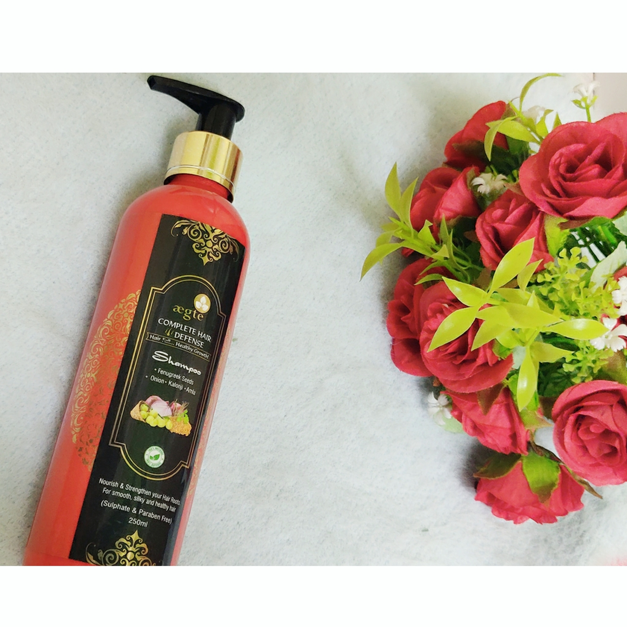 Aegte Complete Hair Defense Shampoo Enriched with Red Onion, Fenugreek Seeds, Kalonji & Amla -Fab Shampoo!-By navoditagahlot