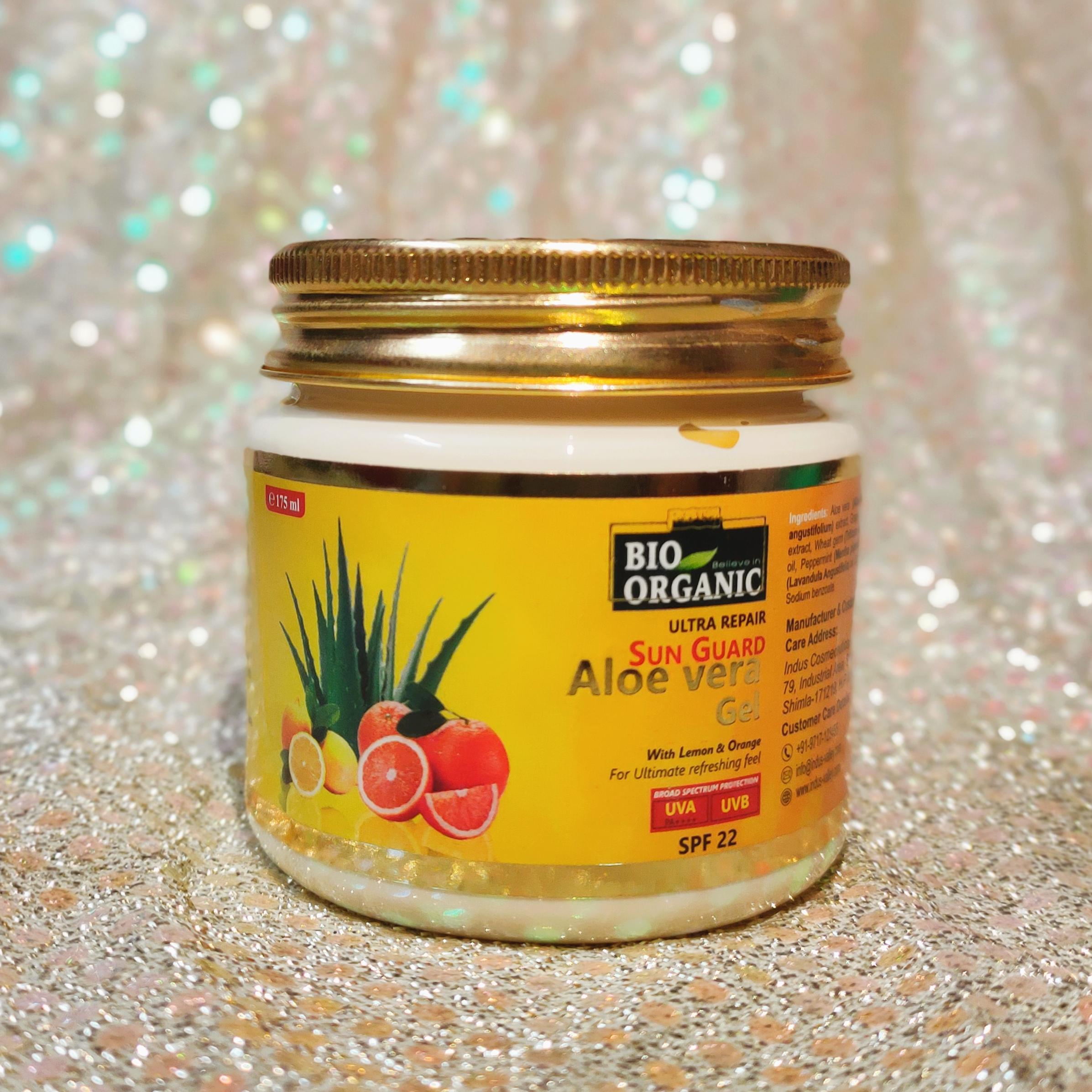 Indus Valley Bio Organic Sun Guard Aloe Vera Gel With Lemon & Orange-SPF 22-Perfect texture for all skin type-By meghagupta-2