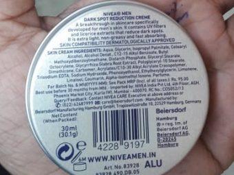 Nivea Men Dark Spot Reduction Cream pic 2-Average product-By Nasreen
