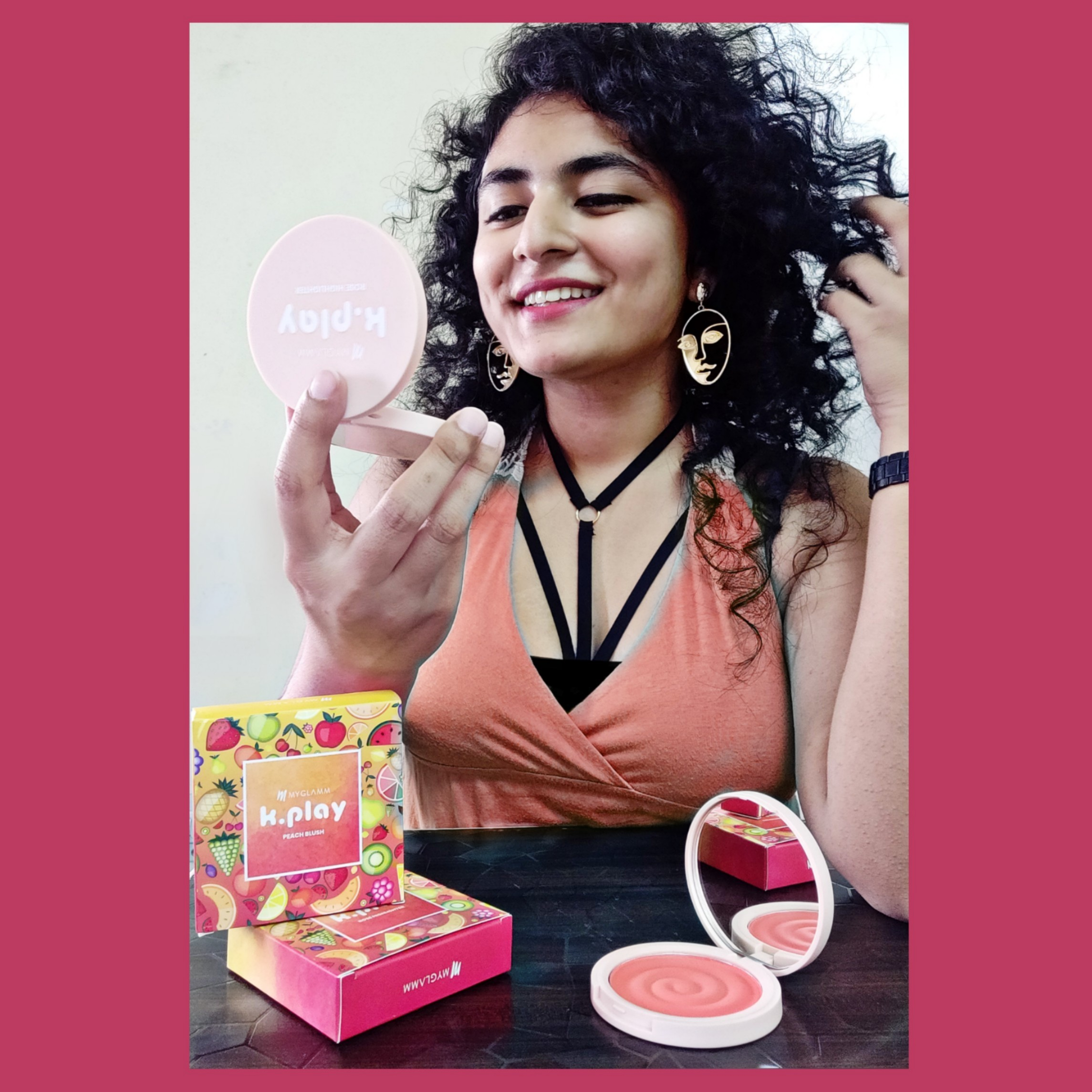 MyGlamm K.PLAY FLAVOURED BLUSH – SWEET PEACH-I blush perfectly-By dr._curlyyy-2